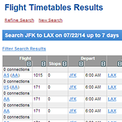 New ExpertFlyer Features - Flight Timetables